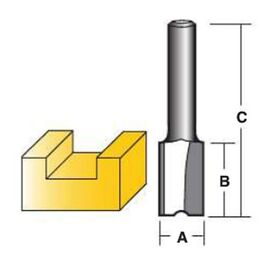 "Carbitool Straight Router Bits - Carbide Tipped Two Flute 1/4"" Shank"