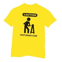 Pen Turners Caution Sign Tee-Shirt Yellow