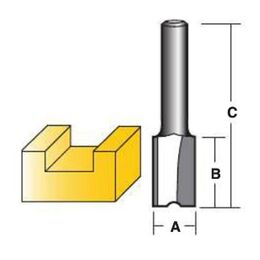 "Carbitool Straight Router Bits - Carbide Tipped Two Flute 1/2"" Shank"