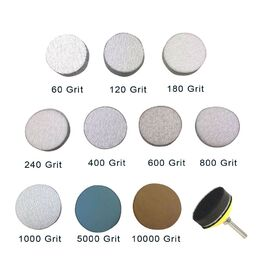"2"" Assorted Grits Sanding Discs with Backing Pad &"