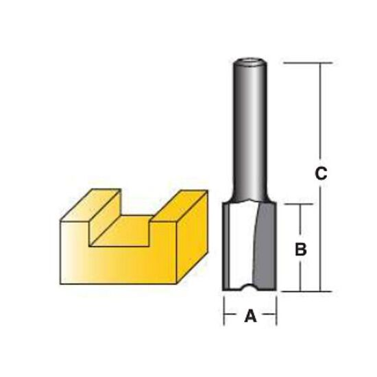 Carbi Tool T 216 M Straight Router Bits - Carbide Tipped - 16mm