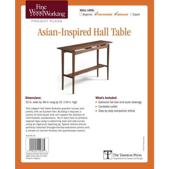 Asian-Inspired Hall Table Plan